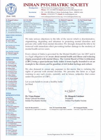 Mental Hai Kya complaint letter by Indian Psychiatric Society page 2