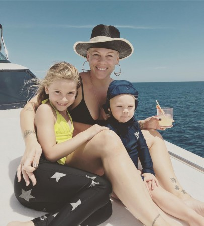 Pink with her son and daughter