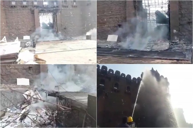 Pictures of Giant sets worth 2 crores of Sye Raa Narasimha Reddy gutted in a massive fire accident