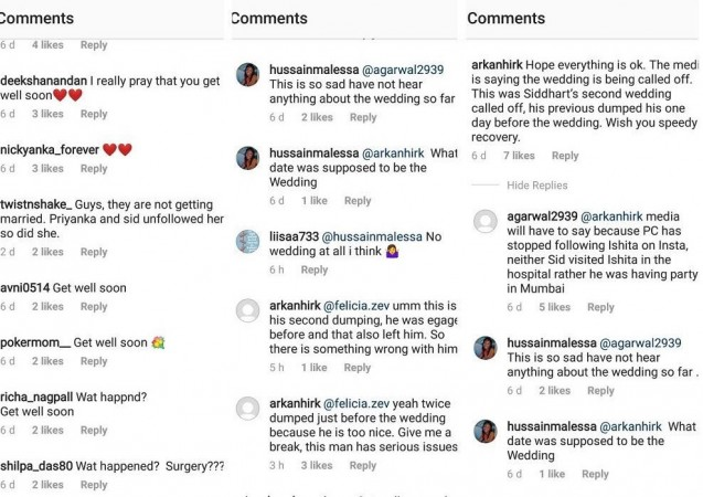 Comments on Ishita Kumar's Instagram post on her wedding to Siddharth Chopra