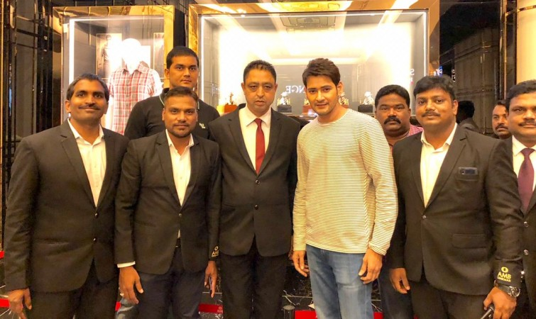 Mahesh Babu with AMB Cinemas staff