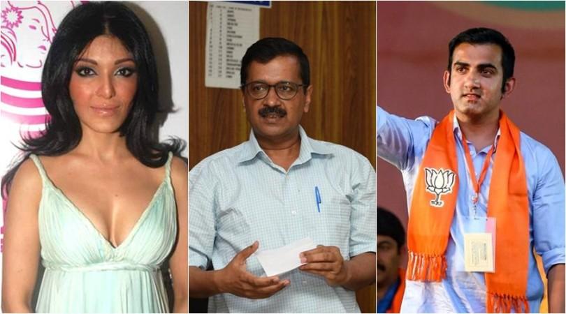 Koena Mitra, Arvind Kejriwal and Gautam Gambhir