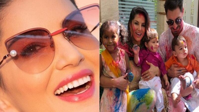 Sunny Leone with husband and children