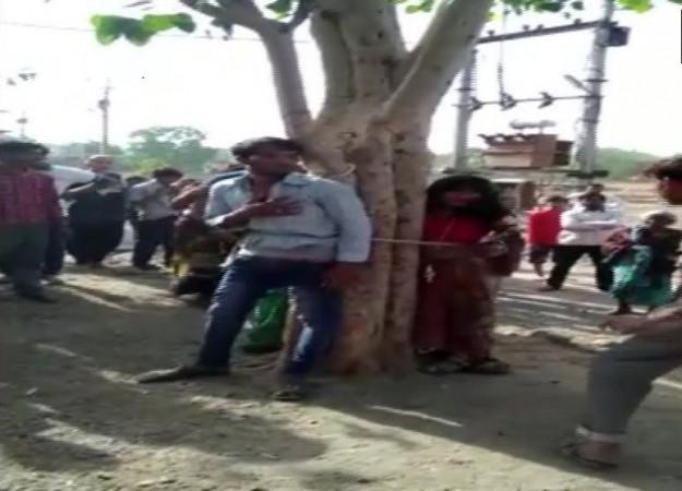 Madhya pradesh man tied to a tree