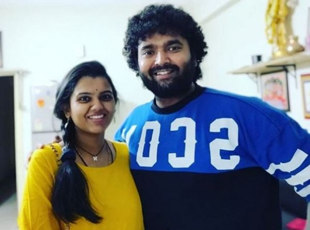 Pranavi Acharya with her husband Raghu Master