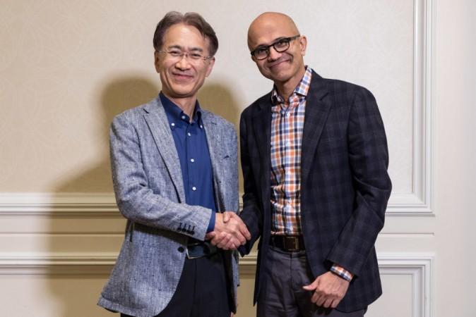 Kenichiro Yoshida, President and CEO, Sony Corporation (left), and Satya Nadella, CEO, Microsoft