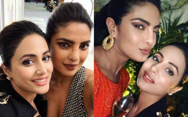 Hina Khan with Priyanka Chopra at Cannes 2019