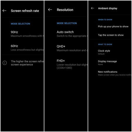 Display settings for OnePlus 7 Pro