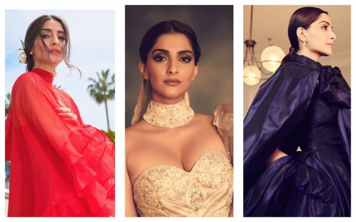 Sonam Kapoor at Cannes 2019 in red, gold and blue
