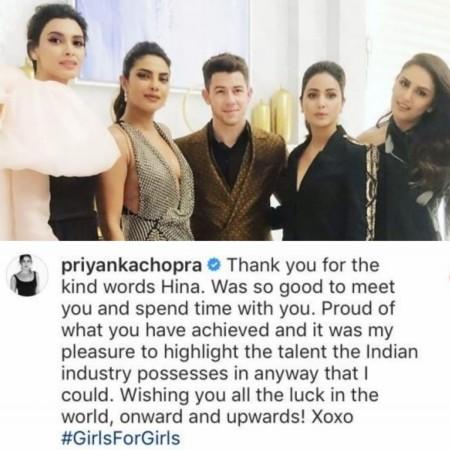 Priyanka Chopra reacts to Hina Khan's post praising her
