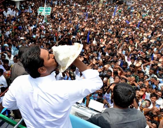 YSR Congress Party (YSRCP) chief Jagan Mohan Reddy blows a conch