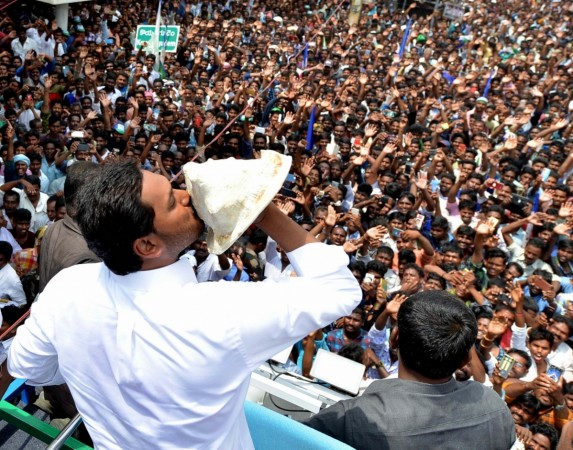 YSR Congress Party (YSRCP) chief Jagan Mohan Reddy blows a conch