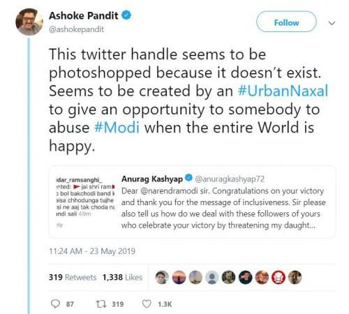 Ashoke Pandit on Anurag Kashyap's tweet to PM