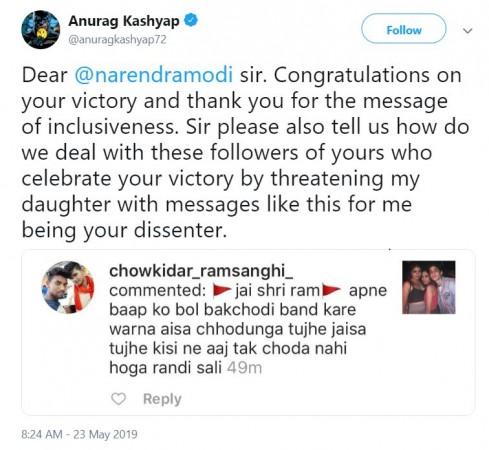 Anurag Kashyap'S tweet to PM