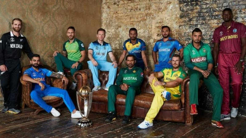 Captains pose with the trophy ahead of the ICC World Cup