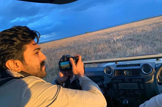 Ram Charan shooting a cheetah from close by in Serengeti National Park, Africa
