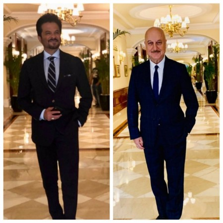 Anil Kapoor and Anupam Kher at Narendra Modi swearing-in ceremony