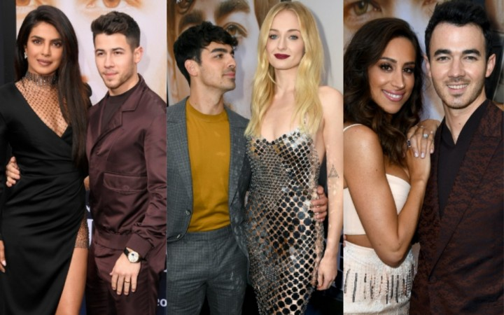 The Jonas Brothers and J Sisters at Chasing Happiness premiere