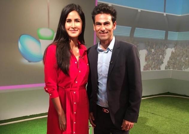 Katrina Kaif and Mohammad Kaif in the cricket studio