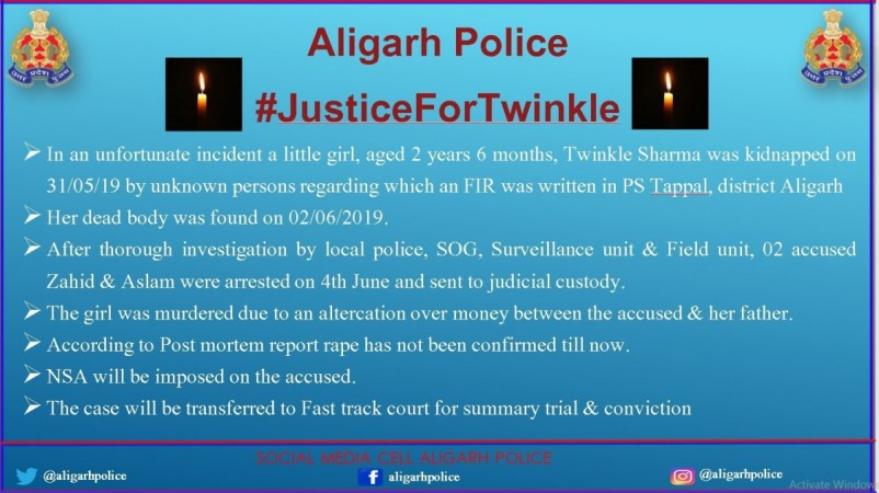 Aligarh Police statement on Twinkle Sharma murder case