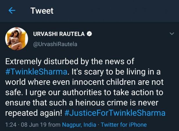 Urvashi Rautela tweet