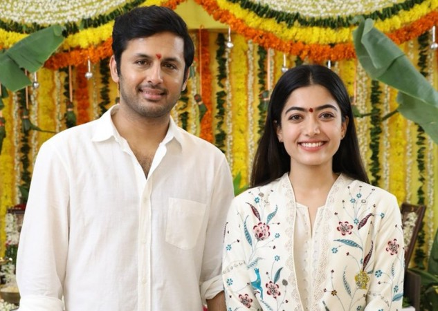 Nithiin and Rashmika Mandanna at Bheeshma launch