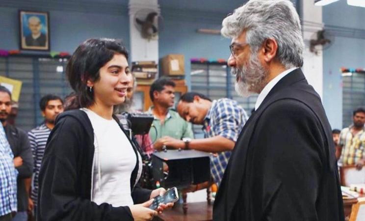Khushi Kapoor with Ajith Kumar on Nerkonda Paarvai sets