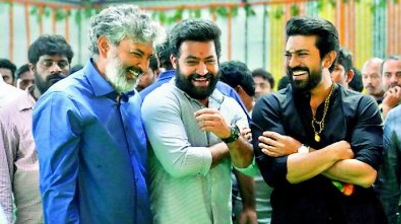 SS Rajamouli, Junior NTR and Ram Charan at RRR movie launch