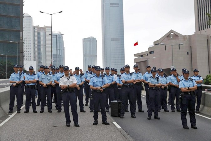Police stand on guard