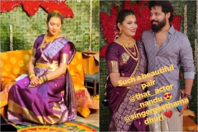 Geetha Madhuri with husband Nandu at her baby shower ceremony
