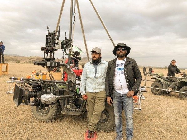 Cinematographer Rathnavelu with director Surender Reddy on the sets of Sye Raa