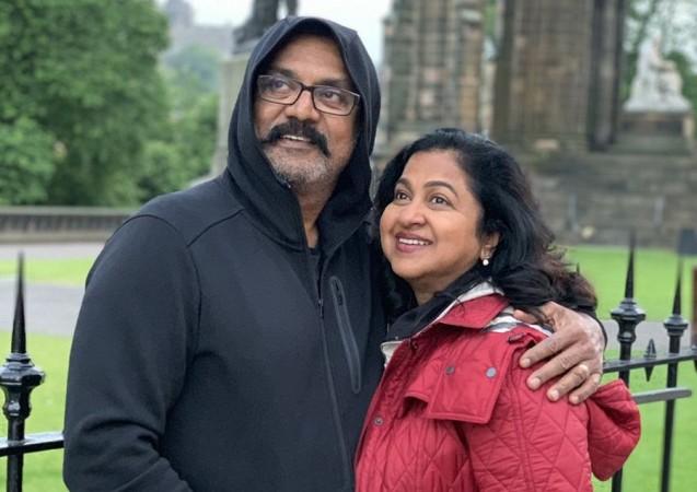 Sarath Kumar with his wife Radhika