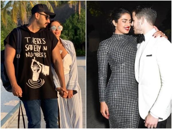 Arjun Kapoor and Malaika Arora (left) Priyanka Chopra and Nick Jonas