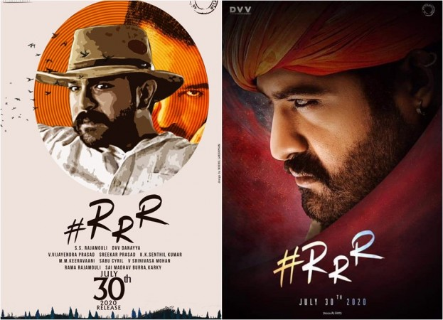 Fan made posters of actors Junior NTR and Ram Charan from RRR