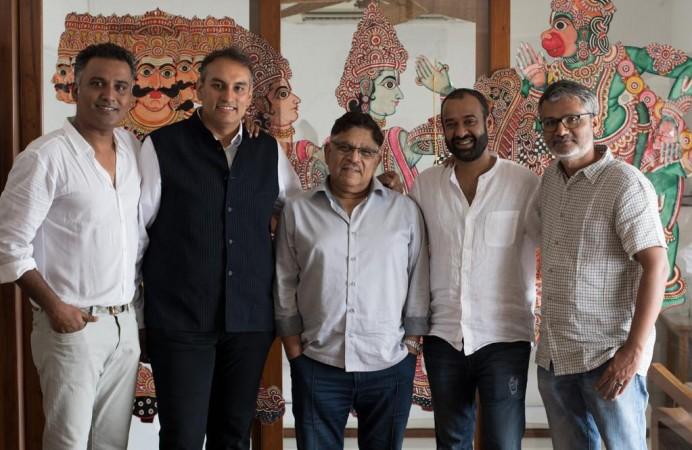 Allu Aravind with the team of Ramayana film series