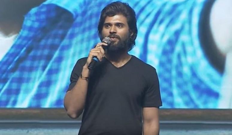 Vijay Devarakonda addressing the pre-release event of Dorasani