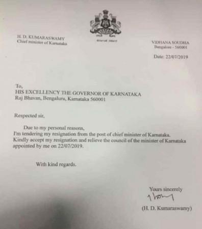 Karnataka Chief Minister HD Kumaraswamy's fake resignation letter