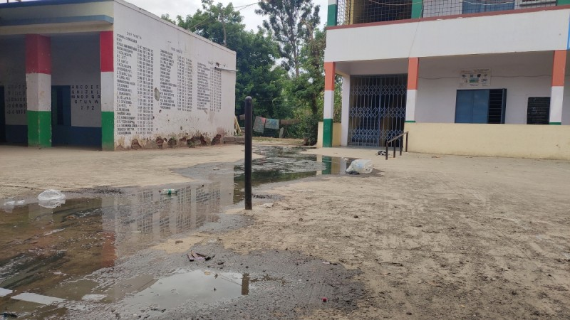 Sewage flowing from the toilet at government higher primary school in Medahalli