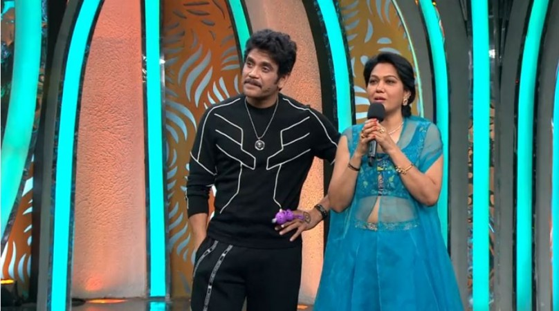 Actress Hema with host Nagarjuna on Bigg Boss Telugu 3
