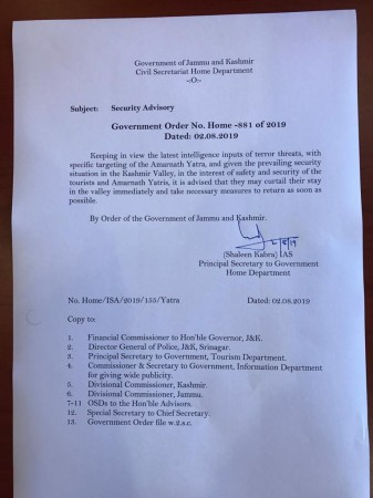 Advisory Amarnath Yatra