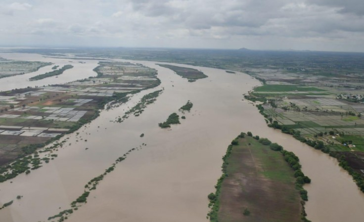 Aerial view of North Karnataka affected by floods