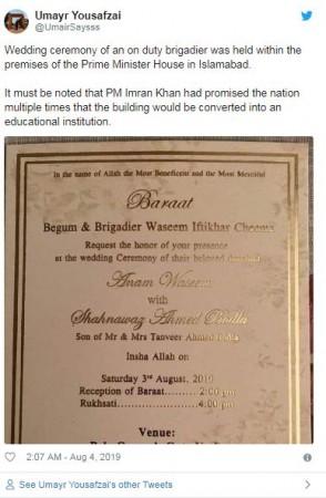 Imran khan house wedding venue tweet 1