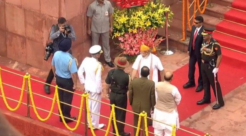 Prime Minister Narendra Modi meeting Army Chief General Bipin Rawat, Navy Chief Admiral Karambir Singh and Air Chief Marshal BS Dhanoa at Red Fort in Delhi.