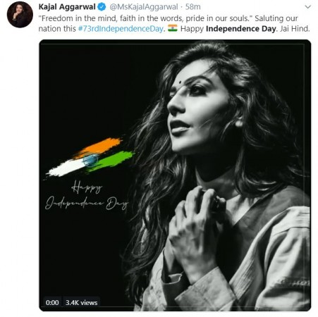 Kajal Aggarwal wishes Happy Independence Day 2019