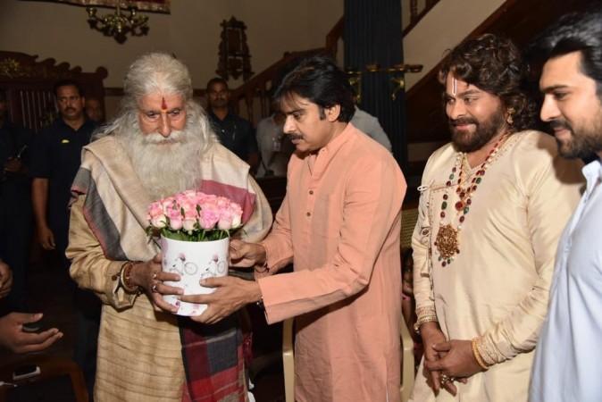 Pawan Kalyan with Amitabh Bachchan,  Chiranjeevi and Ram Charan on the sets of Sye Raa Narasimha Reddy