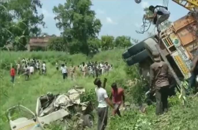 UP truck overturned