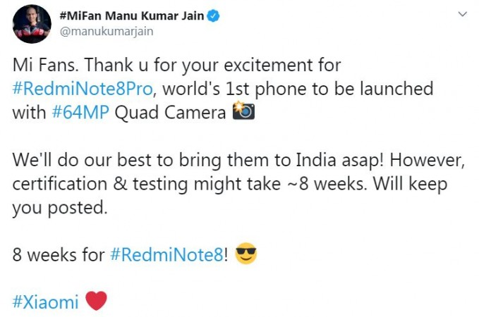 Manu Jain declares the Redmi Note 8 series launch date in India