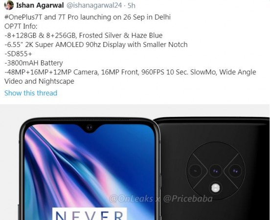 OnePlus 7T launch date in India tipped