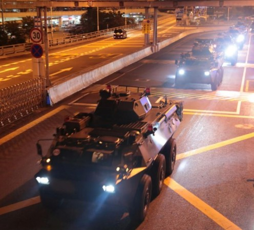 PLA military vehicles in Hong Kong