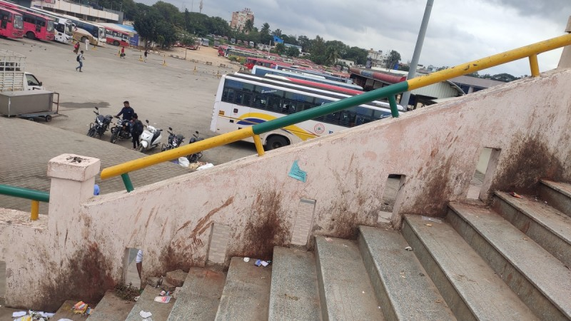 Skywalk at Majestic bus stand covered with gutka stains